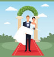 wedding couple cartoon vector image