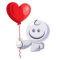 white character holding red balloon on white vector image