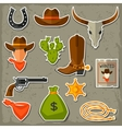 Wild west cowboy objects and stickers set vector image vector image