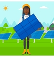 Woman holding solar panel vector image vector image