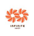 Infinity symbol logo from juicy orange tangerine vector image