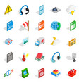 call centre icons set isometric style vector image