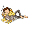 Man taking nap with pet cat vector image