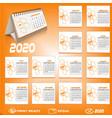 2020 desk calendar design vector image vector image