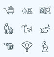 airport icons line style set with man with travel vector image