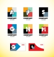 Alphabet letter vintage strong colors logo icon vector image vector image