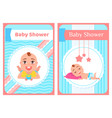 bashower greeting card with babies boy or girl vector image vector image