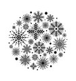 black silhouettes snowflakes set in circle vector image