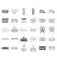 building repair monochromeoutline icons in set vector image