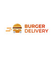 burger delivery fast hamburger car vector image vector image