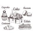 cake cupcake croissant macaron vector image