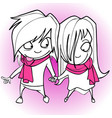 cartoon loving couple man and woman holding hands vector image