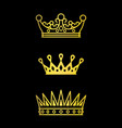 crowns gold line icons vector image