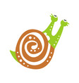 cute snail character looking up funny mollusk vector image vector image