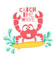 cute t-shirt design for kids funny crab vector image vector image