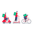 delivery guy courier in red shirt with food vector image vector image