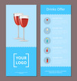 drinks offer cocktails menu poster pair red wine vector image vector image