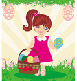 Easter card with girl and a basket of eggs vector image vector image