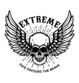 extreme winged skull on white background design vector image vector image