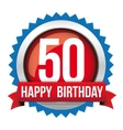 Fifty years happy birthday badge ribbon vector image