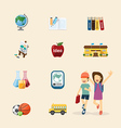 flat icons set of education design concept vector image vector image
