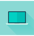 Flat laptop over blue vector image vector image