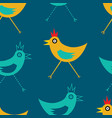 funky repeat patern of chickens vector image vector image