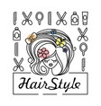 girl with a beautiful haircut and icons vector image