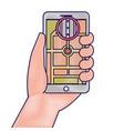 hand holding smartphone gps navigation street vector image vector image