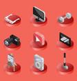 hobbie color ioutline isometric icons set vector image vector image