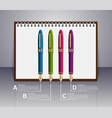 infographic design template realistic ink pen vector image vector image