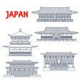 japan temples japanese buildings shrines in kyoto vector image vector image