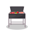 kettle grill with grilled meat and vegetables vector image