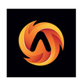 letter a fire circle colorful 3d logo illus vector image vector image