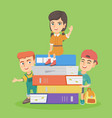 little caucasian children with the stack of books vector image vector image