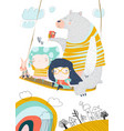 little girls swinging on a swing with cute animals vector image vector image