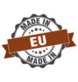 made in eu round seal vector image vector image