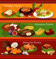 malaysian cuisine banners with asian dishes vector image vector image