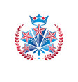 military star emblem created with royal crown and vector image vector image