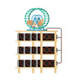 mining farm and hamster in wheel produces vector image