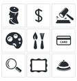 Museum auction sale icon set