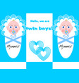 newborn twins boy announcement with two babies in vector image