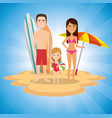 parents with daughter on the beach vector image