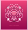 Pink design template with heart in white linear vector image vector image