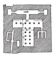 plan of the sphinx temple is a statue with the vector image vector image