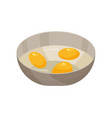 raw eggs with yolk in a bowl vector image
