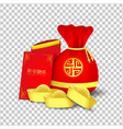 red bag and red packet for chinese new year vector image