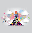 rocket ship launch on watercolor sky business vector image vector image