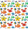 Seamless design with sea creatures vector image