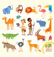 set funny african little animals vector image vector image
